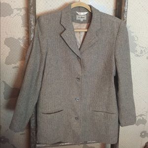 L.L Bean herringbone gray blazer long 14 EUC
